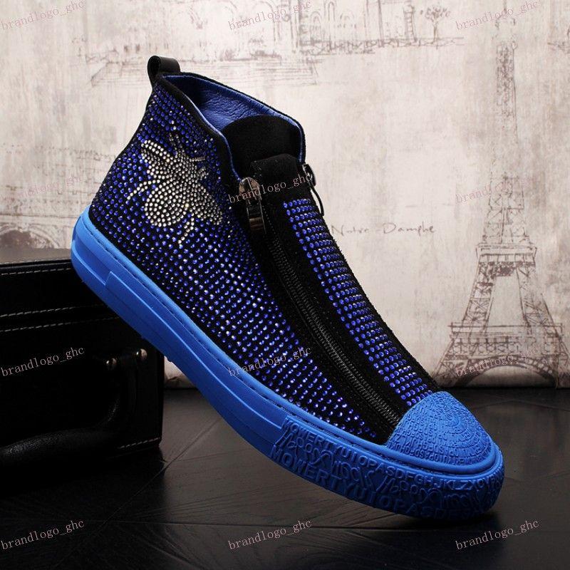 Herrenbekleidung Designer Müßiggänger flache Schuhe Strass Herrenmode Müßiggänger High-Top-Freizeitschuhe Luxusstern Diamant Schuhe golden V13