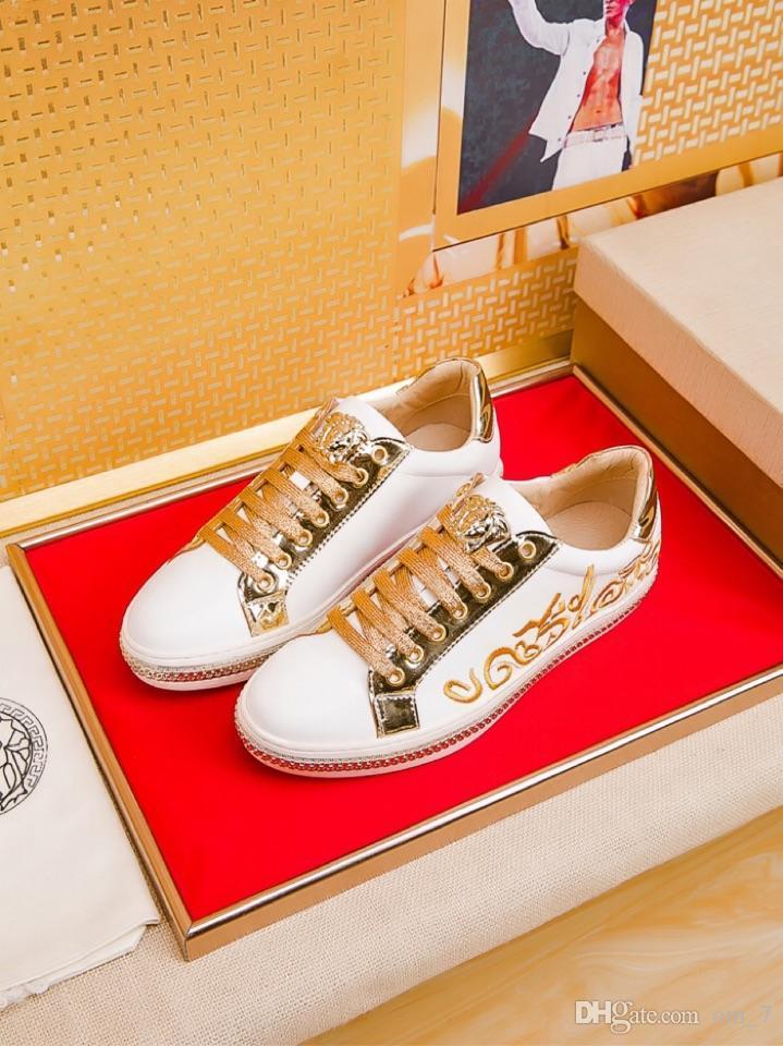 2020j üst seviye Medusa deri baskılı düşük üst bağcıklı ayakkabı, erkekler için moda ve çok yönlü kişilik spor ayakkabıları, boyut: 38-45