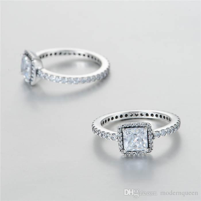 la plata al por mayor anillos de circonia cúbica única S925 plata para pandora pulsera de estilo y encanto de la joyería envío