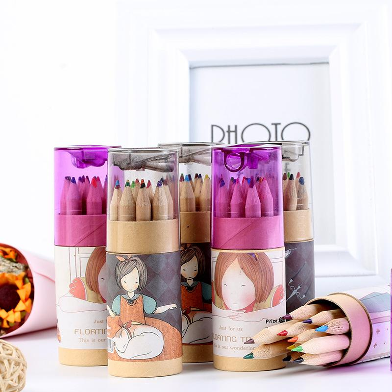 WaitHope 12Pcs/Set High Quality Pencil Packaging 12 Different Colours Pencils Kawaii School Wooden Pencils with Pencil Sharpener