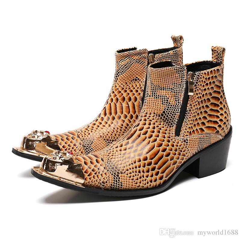 Плюс размер желтый Аллигатор человек ручной работы острым носом Ковбой езда мужской пати выпускного вечера обувь из натуральной кожи высокие каблуки мужские ботильоны