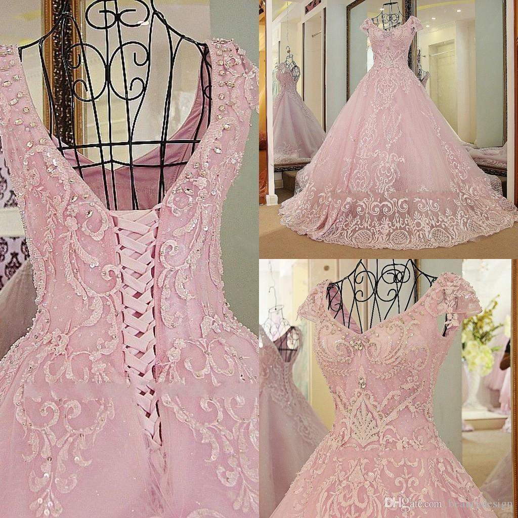 Flügelärmel Herzausschnitt Applikationen Quinceanera Kleid Anpassen 2019 Neues Design Rosa Ärmellose Brautkleider mit Schnürung Zurück
