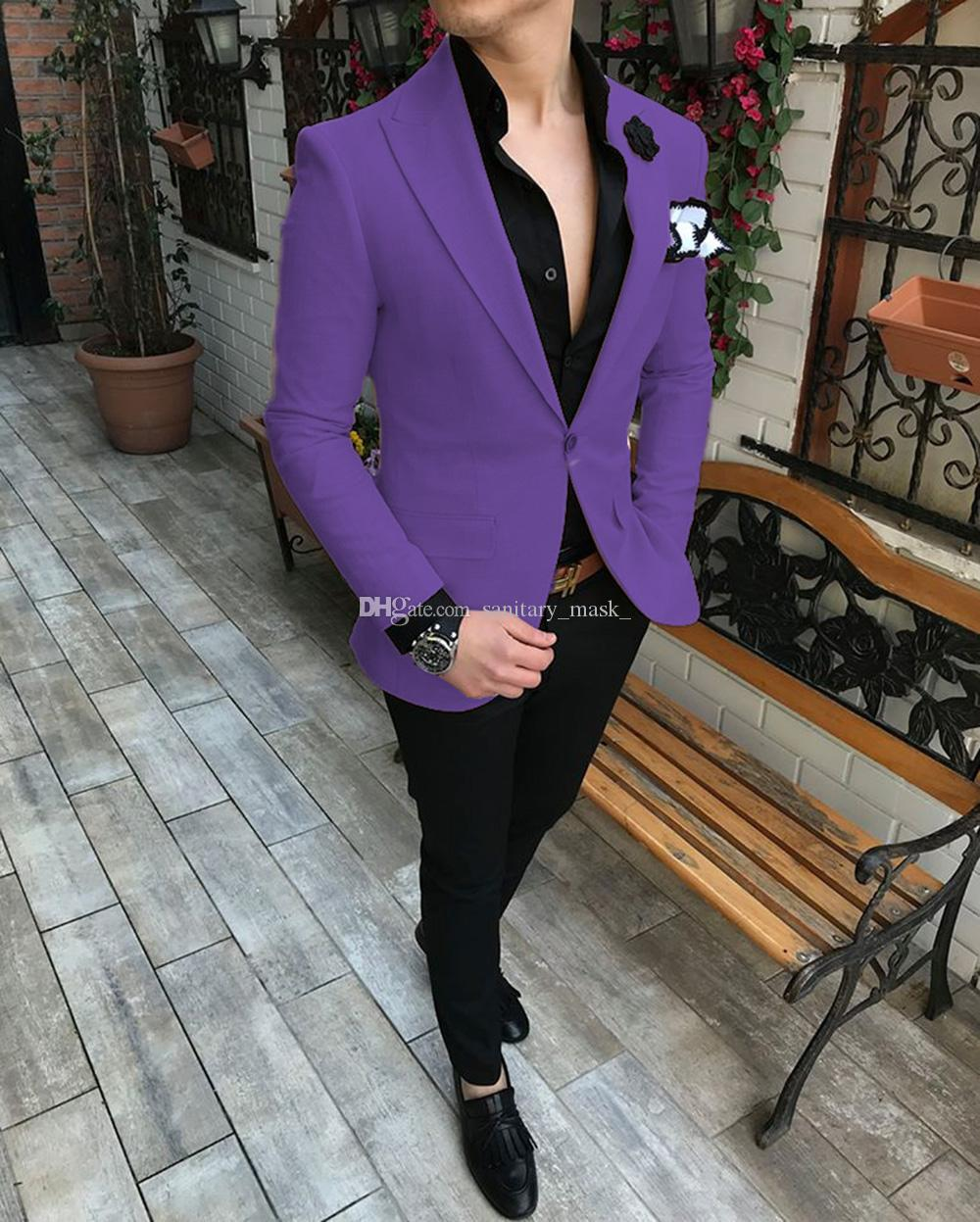Uomini viola si adattano a due pezzi pantaloni giacca trim fit one button blazer su misura smoky smoking smoking (giacca + pantaloni)