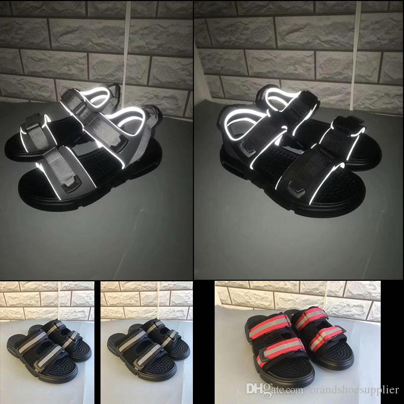 2019 new designer 3 m material sandals summer beach slippers black white casual sandals women's shoes indoor non-slip men's casual lace box