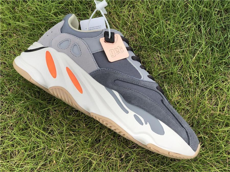 2019 700 originaux Aimant FV9923 Kanye West coureur de vague Chaussures de course Homme Femmes Teal Bleu 3M Reflective authentique Chaussures de sport avec la boîte