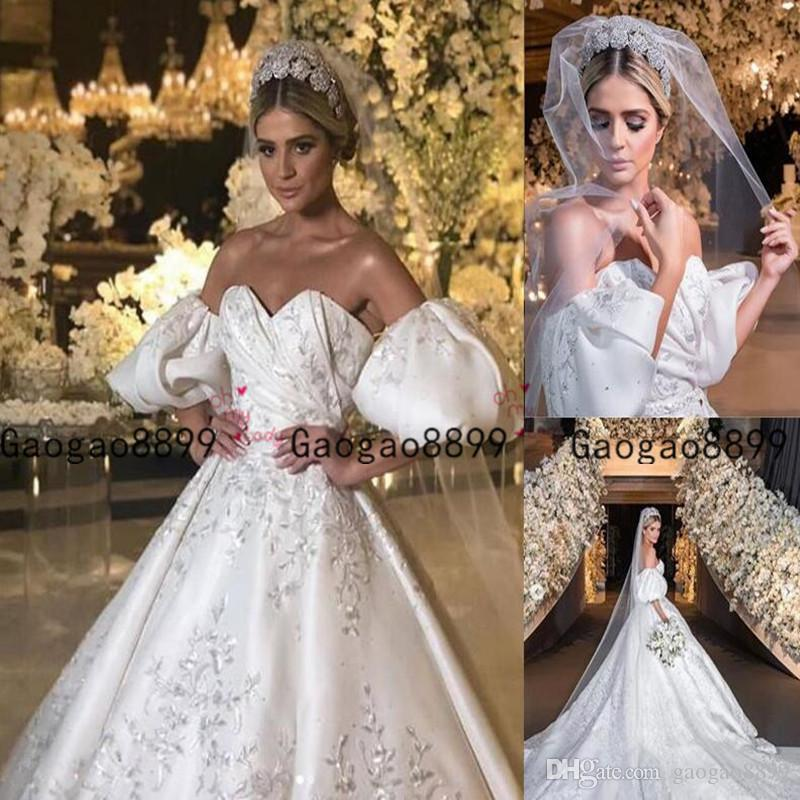 2020 Luxury Ball Gown Wedding Dresses Off The Shoulder Princess Puffy Sleeves With Lace Embroidery Modest Bridal Gowns Formal Chapel Train Italian Wedding Dresses Long Wedding Dresses From Gaogao8899 185 61 Dhgate Com,Winter Wonderland Themed Wedding Dresses