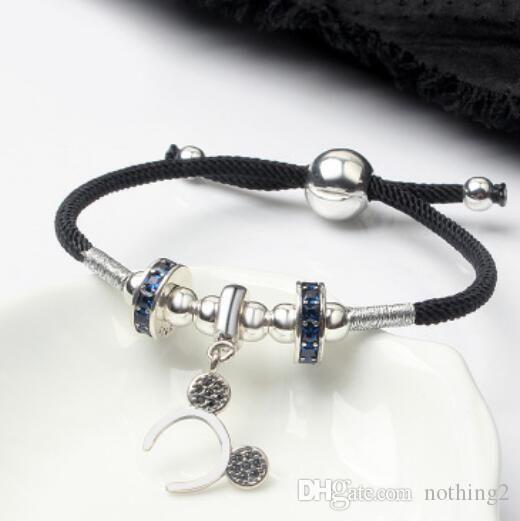 jewelry bracelets S925 sterling silver animals pendant bracelets weave adjustable string hot fashion free of shipping