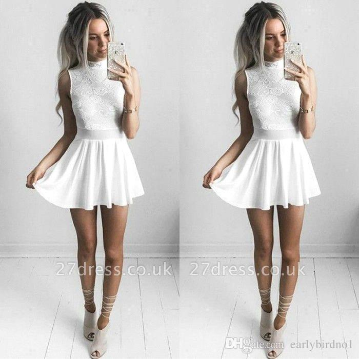 Sweet Lace Short Homecoming Dresses High Neck Sleeveless White Short Mini Cocktail 16th Graduation Party Gowns Cheap