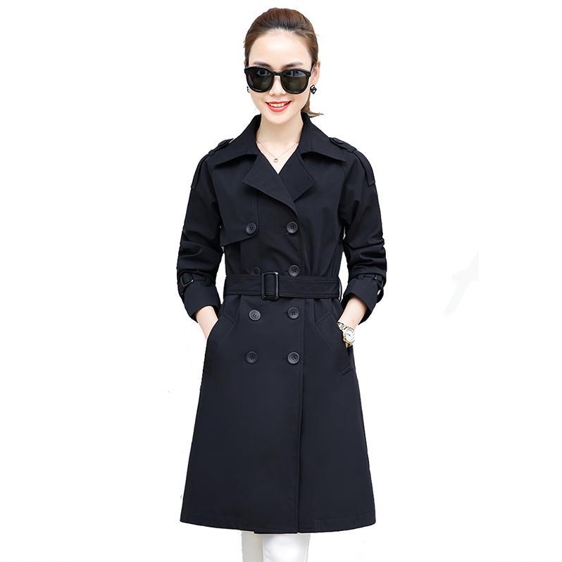 Autumn windbreaker women's coat medium long spring new fashion trend plus size slim khaki green black jacket overcoat