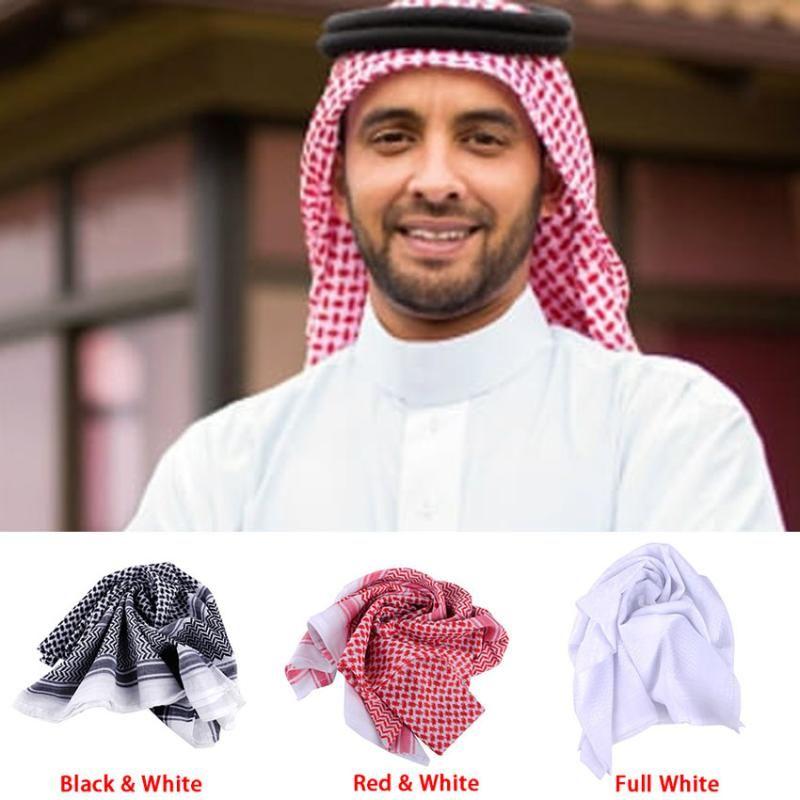 138 * 138 cm Cubierta de la cabeza de los hombres musulmanes Headwear de la tela escocesa de poliéster Bufanda Arabia Duabi árabe islámica Ropa Accesorios Keffiyeh turbante