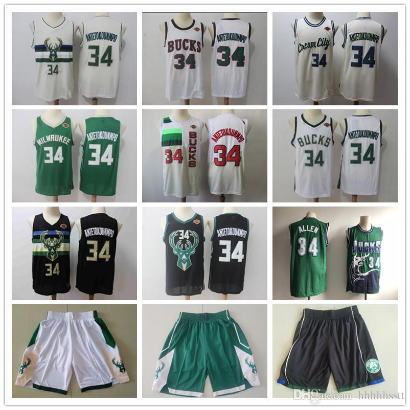 Mens MilwaukeeBucksRitorno al passato Jersey Ray Allen 34 Giannis 34 Antetokounmpo basket pantaloncini da basket maglie verde bianco nero