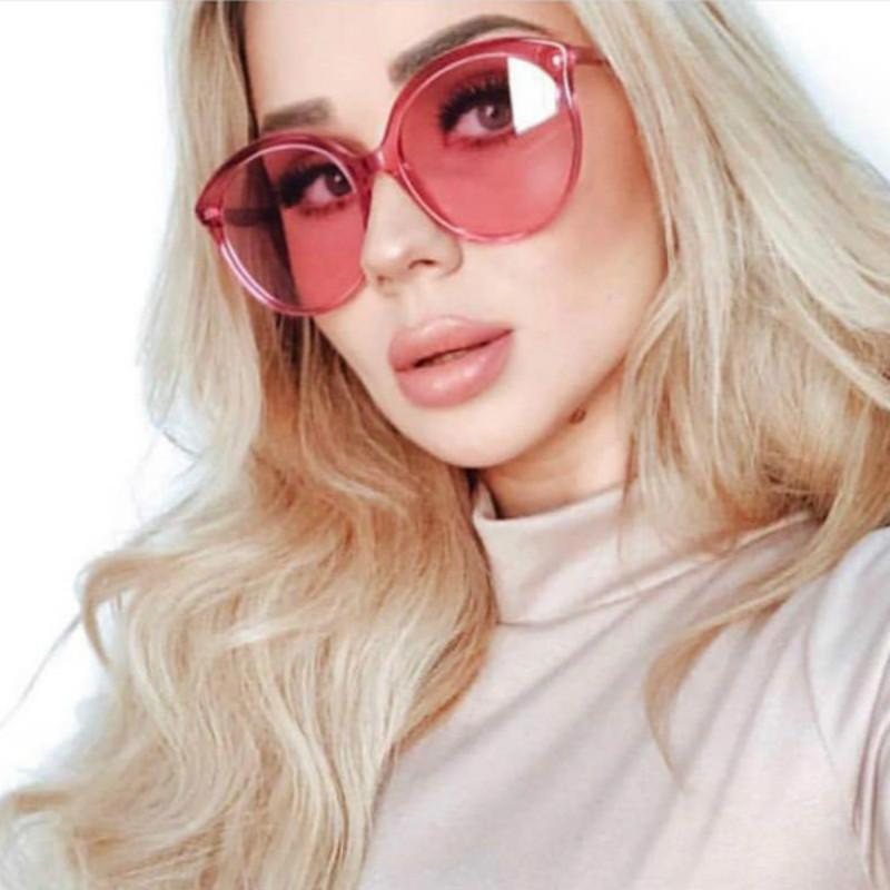 المتضخم جولة نظارات شمسية نسائية 2020 خمر واضح عدسة المحيط إطار الوردي الكبير okulary نظارات نظارات الشمس للسيدات