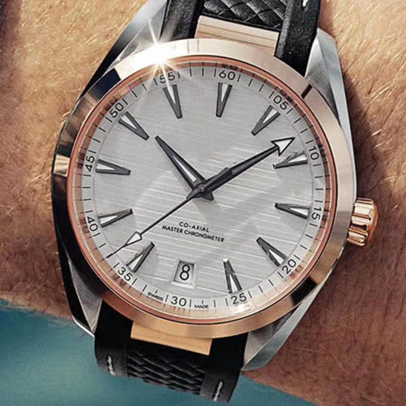 패션 남성용 시계 고무 스트랩 기계 자동 남성 시계 운동 150M 시계 시계 폴딩 버클 손목 시계