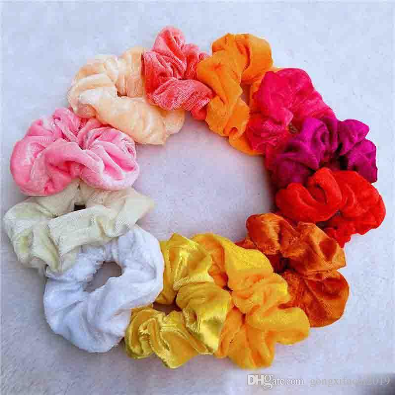 Nouveau mode couleur solide Chouchous coton élastique Bandeaux pour les femmes filles satin cheveux corde Accessoires Bijoux de cheveux