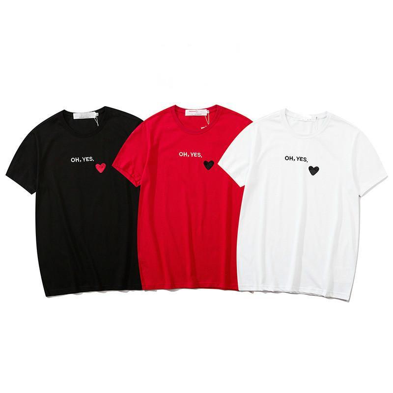 패션 티셔츠 남자와 여자 커플 짧은 소매 일본 조수 브랜드 사랑 자수 면화 짧은 소매 브랜드 S-2XL WF2004032