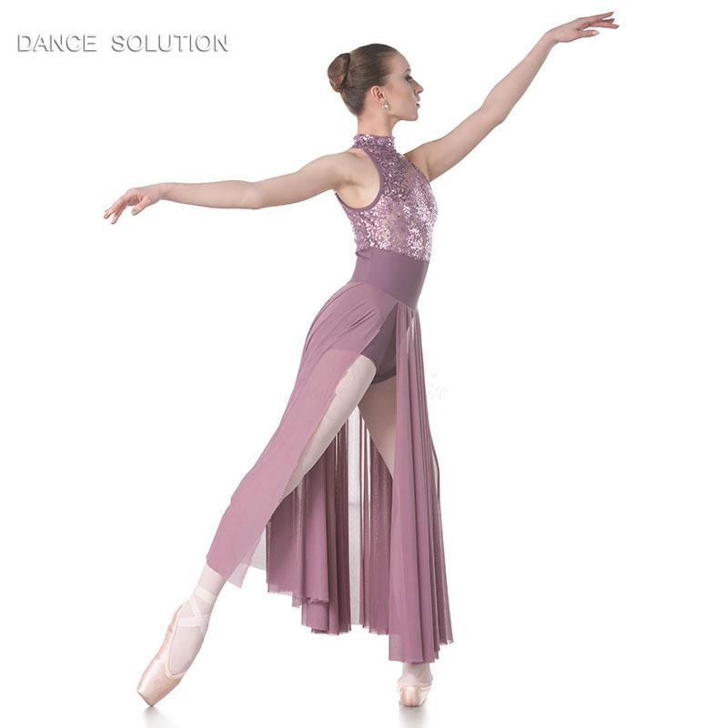 Hot Sale Women's Ballet Dance Performance Costume Purple Sequin Lace Lyrical and Contemporary Dress 18015A