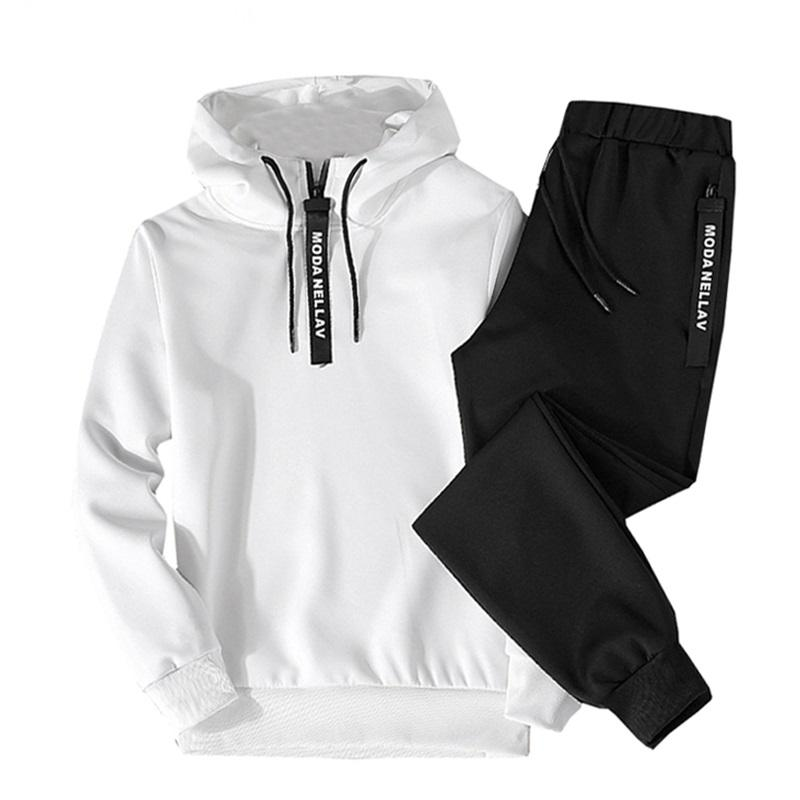 Imposta Sport Tuta Uomini Autunno Inverno Felpa con cappuccio con coulisse Outfit Sportswear 2020 maschio vestito pezzo Pullover Due insieme casuale