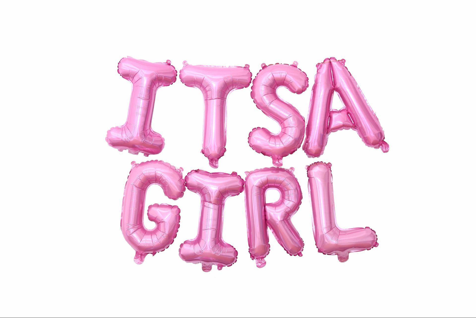 Ele é um alumínio menina balão filme crianças do aniversário das meninas do bebê Primeiro Ano decoração do partido definir balão bebê