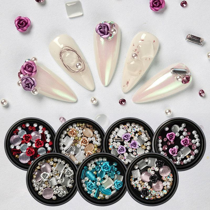 MEET ACROSS gioielli decorazione di arte della Rosa 3D Strass Pietre Set fai da te gemme Charme mista del chiodo del gel del chiodo di scintillio della decorazione di arte