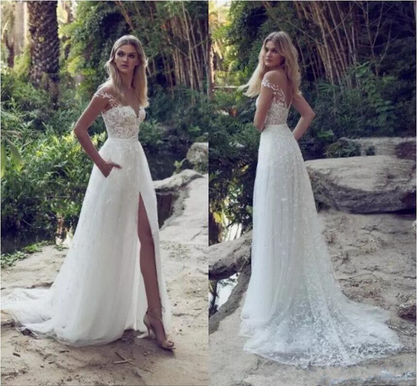 2020 Elegant Bohemian Wedding Dresses Bridal Gown Country Designer With Pocket cap Short Sleeves Side Slit Cheap Wedding Reception dress