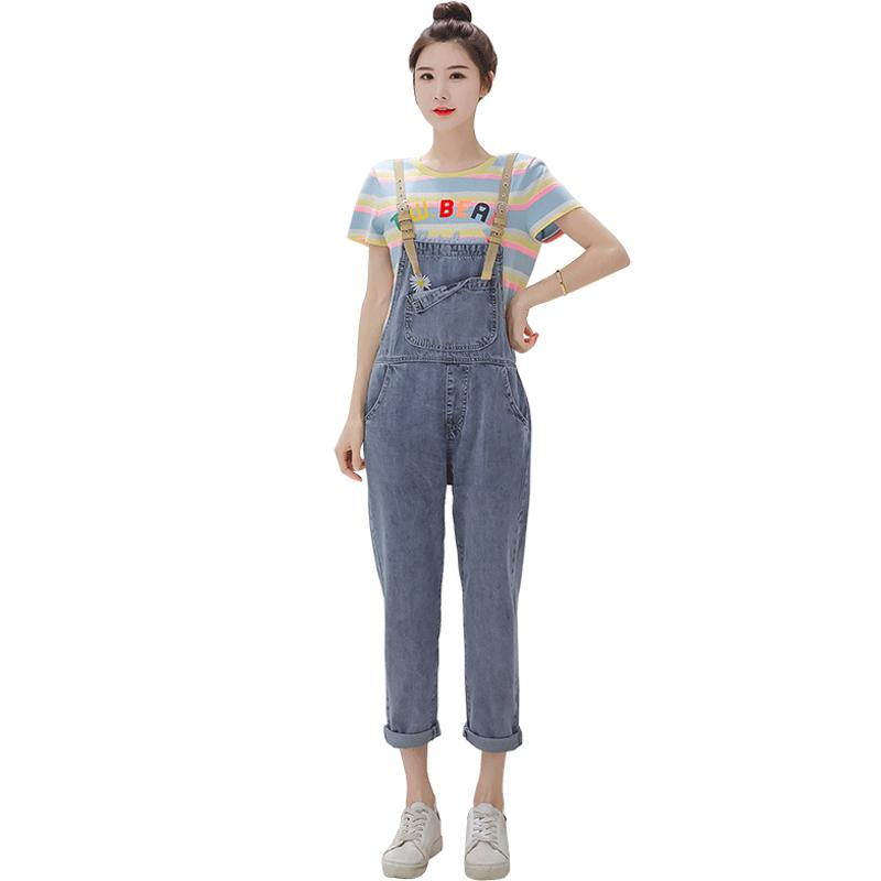 Harajuku Daisy Jeans brodé Femmes Mode Denim Salopette lâche taille haute Salopette coton vintage Jumpsuit femmes barboteuses