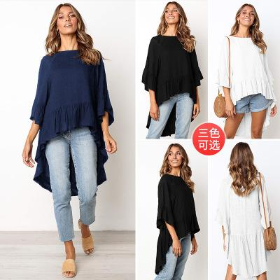 2XL Summer Bracelet Sleeve Hi-lo T-shirt Casual Tshirts New Apprival Women Cotton Blend Flouncing Flounce Tops