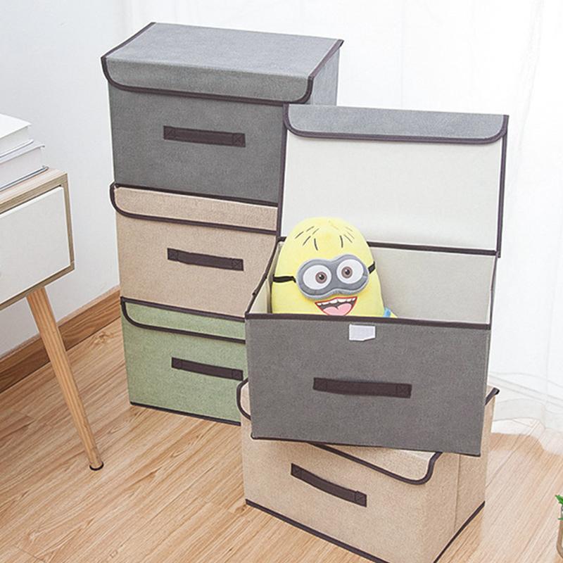 Não-tecido caixa de armazenamento de artigos diversos com caixa de armazenamento à prova de pó portátil de armazenamento de tampa dobráveis artigos diversos de vestuário