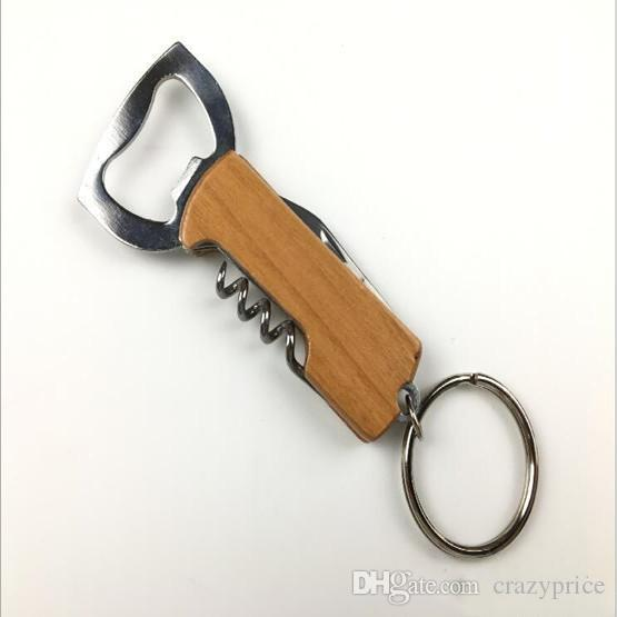 Multifunzione Birra Vino Opener pieghevole Bottle Opener maniglia di legno coltello pieghevole Keychain creativo coltello di legno 3 Aprire Swiss Knife LXL271-A