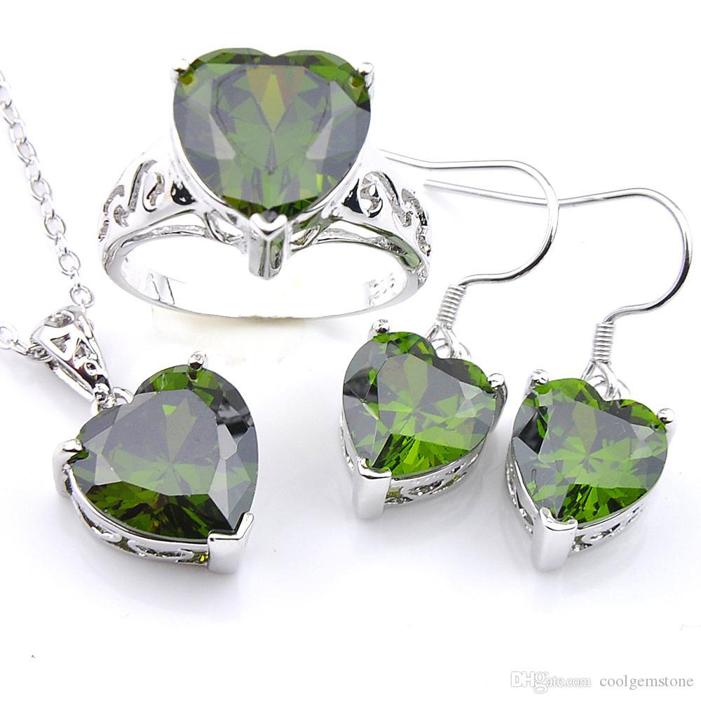 Luckyshine Mix 3Pcs / Lot cadeau de vacances classique coeur feu vert péridot gemmes 925 pendentifs en argent sterling pour colliers boucle d'oreille anneau