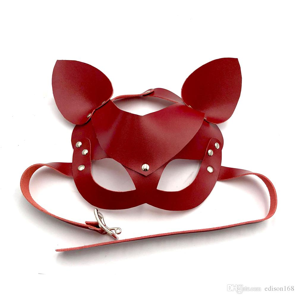 Cosplay Leather Open Eye Eyepatch Fox Mask Adults BDSM Games Bondage Restraints Vizor For Masquerade Ball Carnival Party Sex Toy 4 Color 528