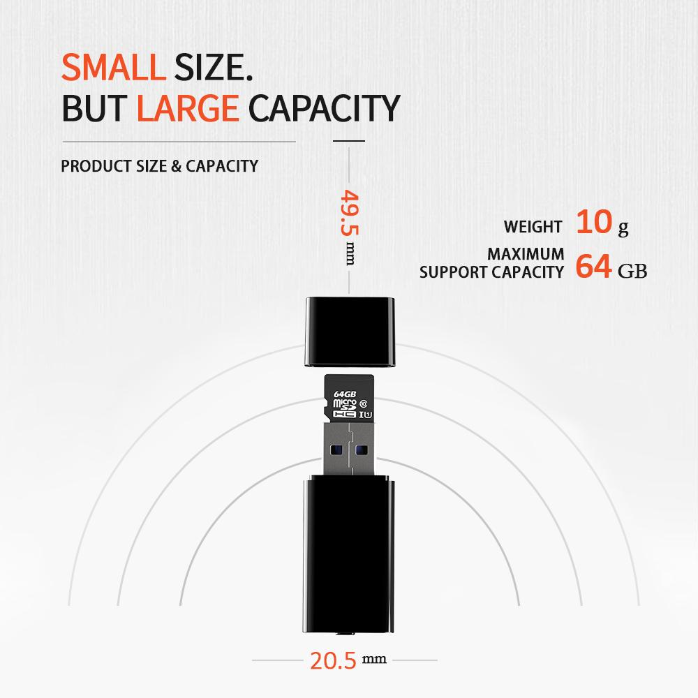 Portable USB Pen Digital Voice Recorder U-disk voice Activated Recorder one button voice recording Support TF Card Up to 64GB UR01
