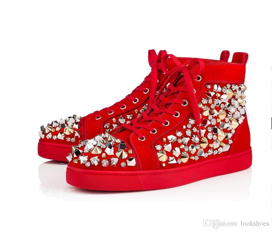 Designer Marque de luxe Pik strass Chaussures Rouge Soles Sneakers Glitter avec Spikes Red Chaussures Bas, Mode pour hommes de mariage de style décontracté marche