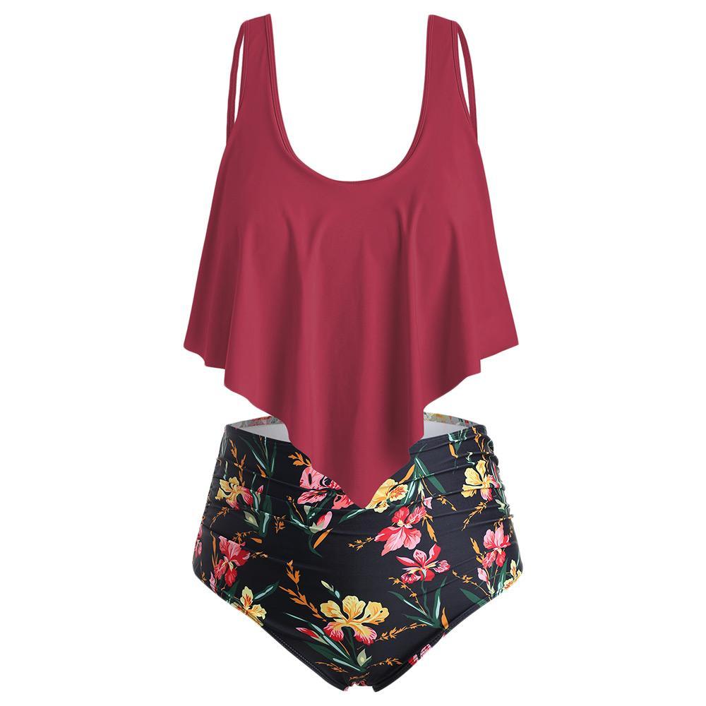 Wipalo Flounce 플로랄 플러스 사이즈 하이 웨이스트 여성 세트 여름 비치 Boho Swim Set 2 개 수영복 여성용 홀리데이 빅 사이즈