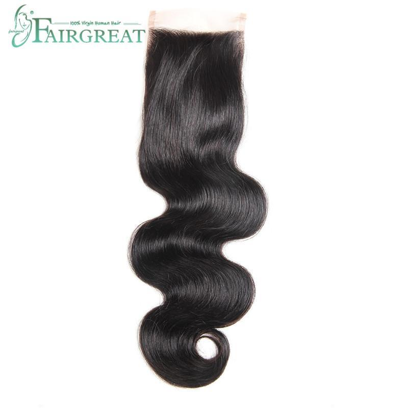 100% Human Hair Lace Closure Brazilian Body Wave 4X4 inch Free Part Natural Color 130% Density Peruvian Malaysian Body Wave