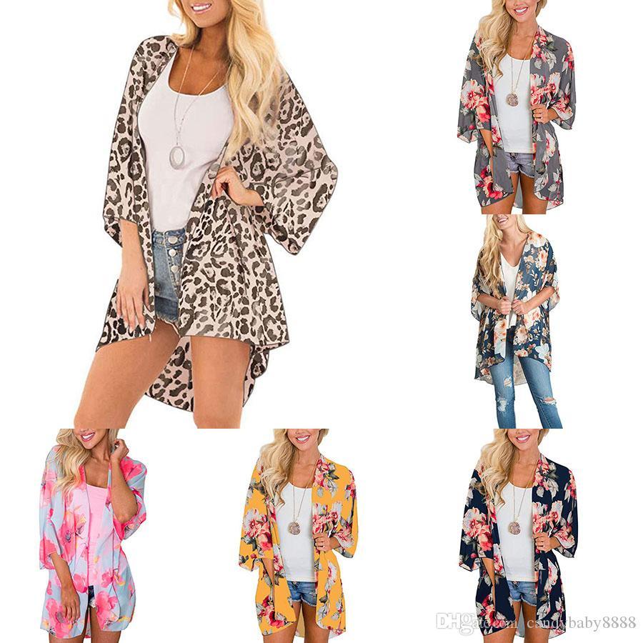 Kadınlar Leopard şifon plaj kapak çiçek baskı gevşek gündelik bayan Batwing kol 2020 yaz hırka güneş koruması giyim C1212