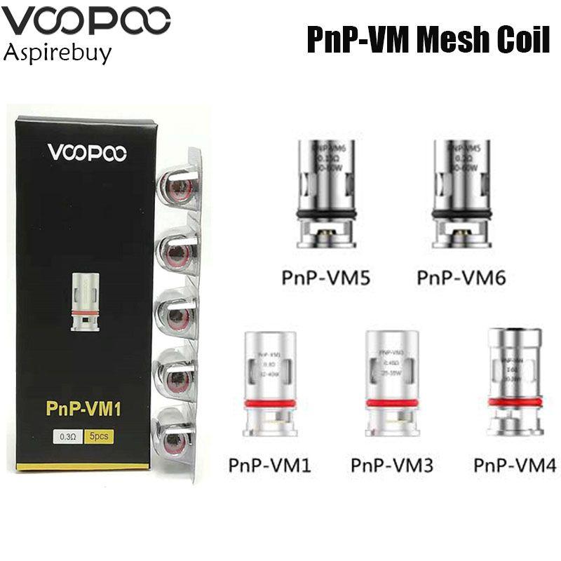VOOPOO PnP Coils Pnp-VM1 0.3ohm Pnp-TM1 Pnp-VM4 Pnp-VM5 Pnp-VM6 0.15ohm Mesh Coil for VOOPOO Drag S Drag X 5pcs/Pack Authentic