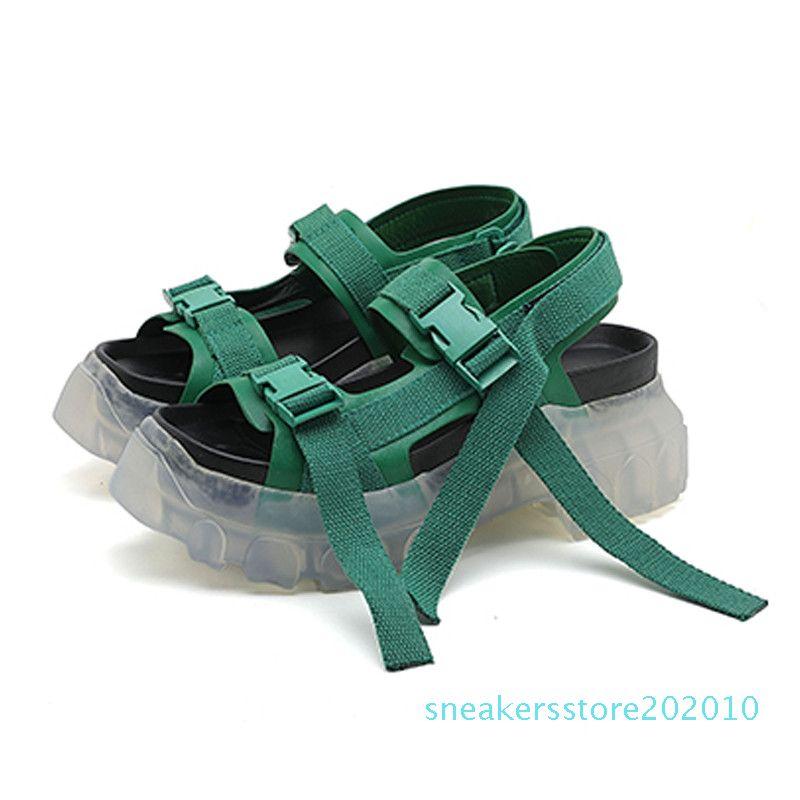 Plataforma Mulheres Owens Sandals Grosso Soled Heels Shoes Altura Increaming Mulheres Buckle Praia Sandálias 10s salto transparente