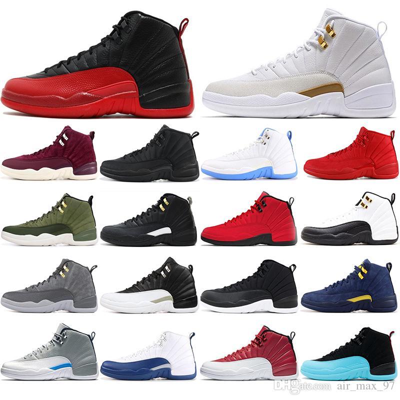 12 Con calcetines moda 12 12s Zapatillas de baloncesto para hombre Winterized WNTR lobo gris Juego de gripe GAMMA AZUL Taxi el maestro hombres Deportes Zapatillas