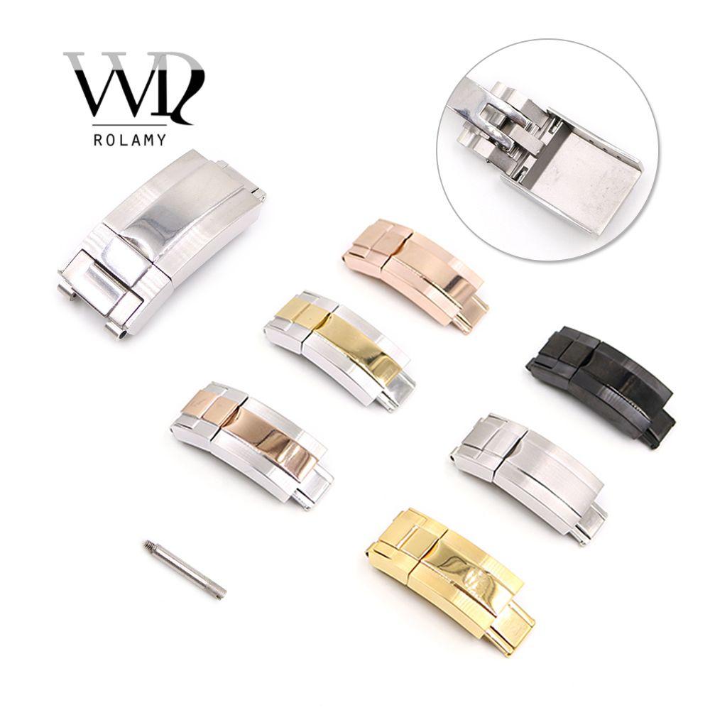 Correa Rolamy 16 x 9 mm de piel del cepillo polaco reloj de acero inoxidable de despliegue de la banda de cierre para la pulsera de goma Oyster