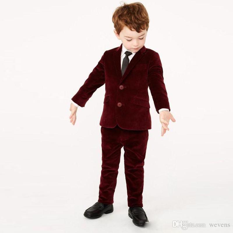 Две части Бургундия мальчика формальная одежда 2 кнопки зубчатый лацкан детский костюм набор для свадьбы Портной сделал ребенка Вельвет блейзер и брюки