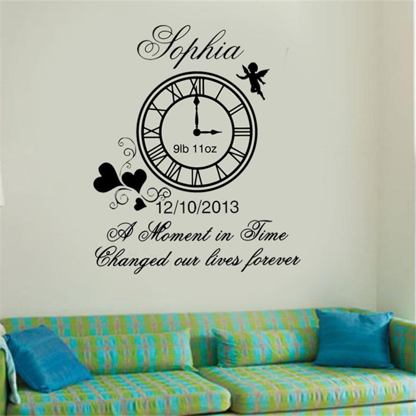 Personalized Kids Birth Date Diy Vinyl Wall Art Clock With Weight Sticker Décor Decals Stickers Vinyl Art Home Décor