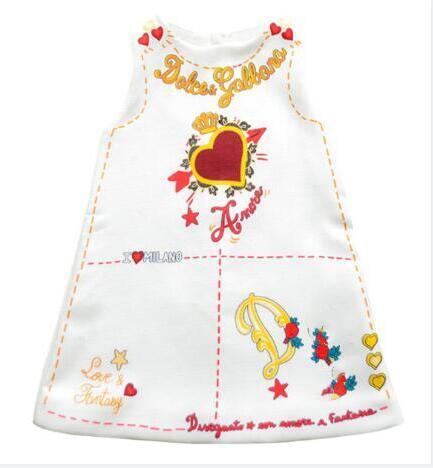 Kolsuz Elbise Çocuk Giyim Trendi Prenses Tasarımcı Marka Elbise Çocuklar Kızlar Için Elbiseler Aşk Alfabe Baskı