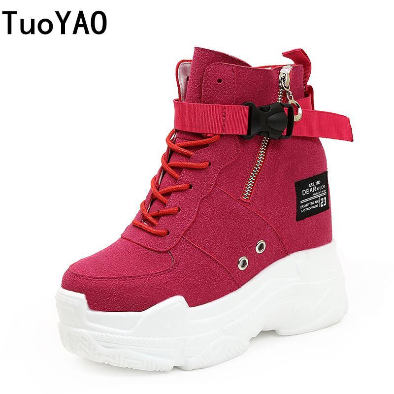 2019 Nueva otoño mujeres de las botas de alta zapatillas de deporte de la plataforma 10.5CM Altura aumento de zapatos botas del tobillo gruesa suela transpirable lona de la mujer