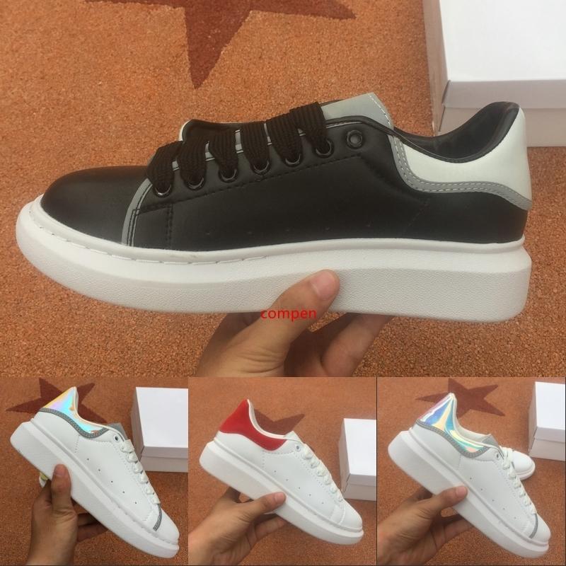 Yansıtıcı Üçlü Siyah Beyaz Lüks Tasarımcı Erkekler Günlük Ayakkabılar Erkek Bayan Moda Sneakers Parti Platform Ayakkabı Kadife Chaussures Sneaker