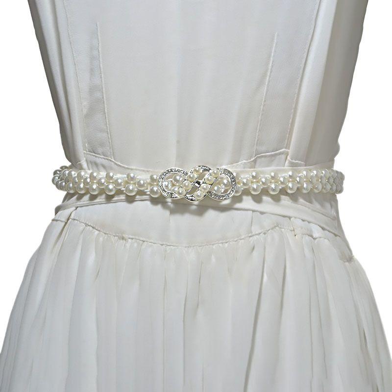 075262dd80362 Women Pearl Belt Waist Elastic Flower Buckle Pearl Chain Belts Female Girls  Dress Crystal Strap Designer Waist Belts for Wedding