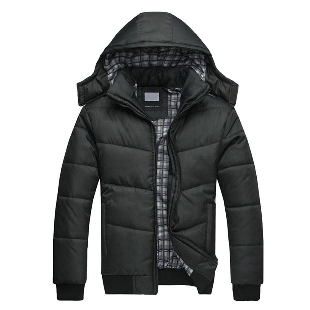 FeiTong Chaqueta Parka hombres abrigo de invierno ropa para hombre Negro Puffer chaqueta caliente Abrigo acolchado con capucha Outwear abajo cubren Hombre Parkas