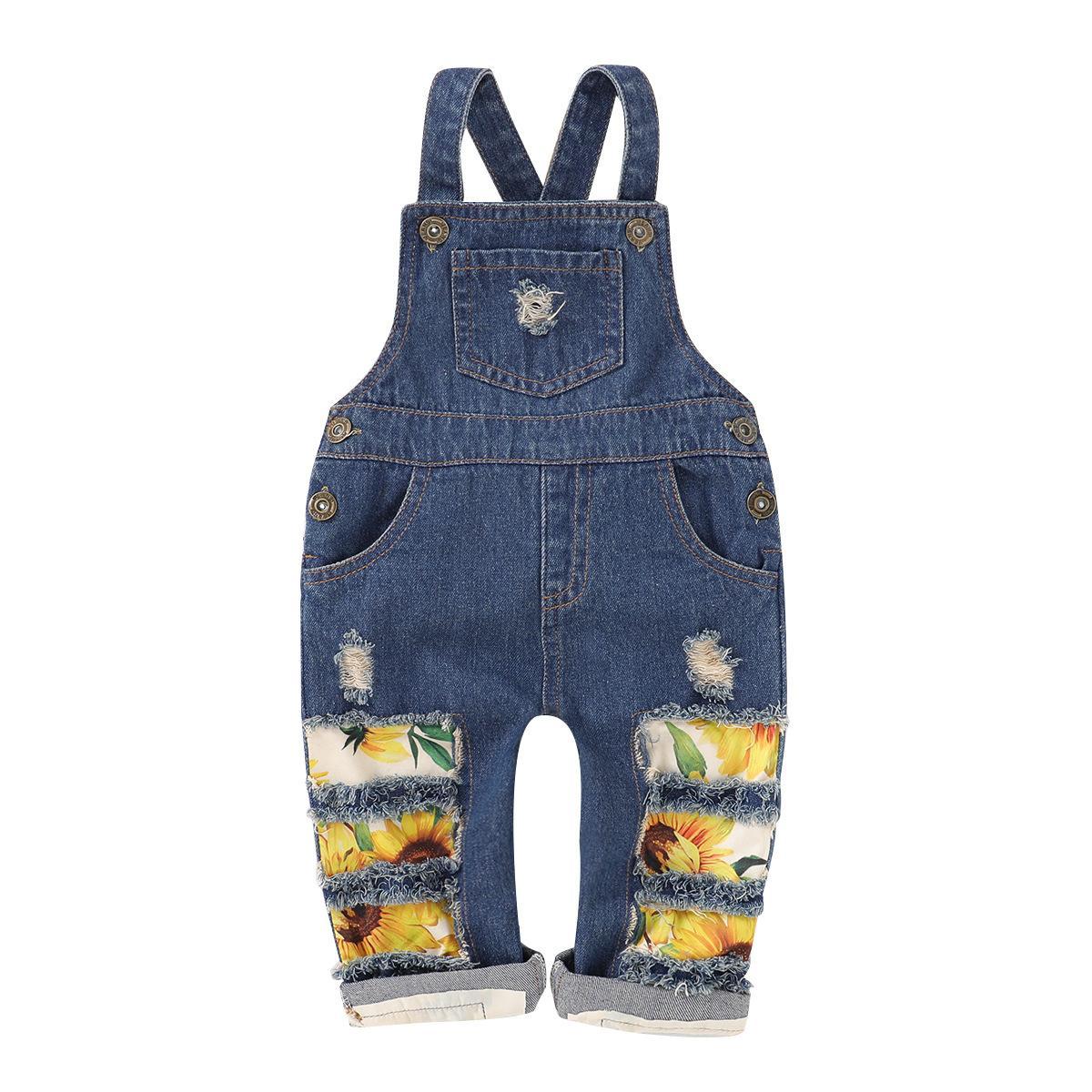 Çocuklar Ayçiçeği Denim Jumpsuit Yaz Giyim Moda Çocuk Suspender Jeans Broken Delikler Pantolon Bebek tulumları Kız Giyim M1882 pant