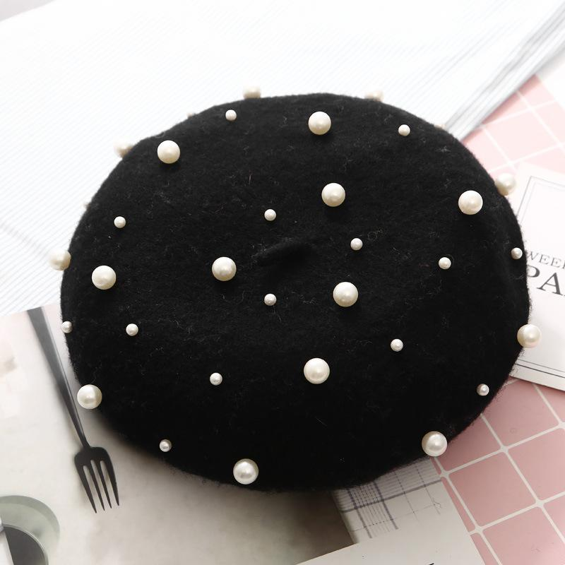 Rivet Vintage Cashmere Women Warm Pearl Beret Wool Female Winter Berets Beret Hats Girls Flat Cap For Women