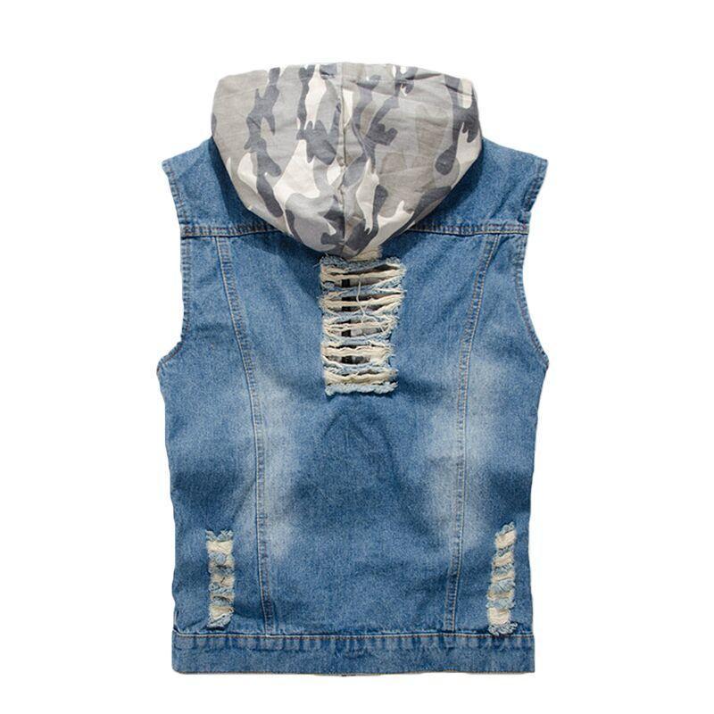 2020 neue Männer Denim-Weste Art und Weise beiläufige Tarnung Hood Ärmel Jacke Loch Cowboy-Mantel-Männer Markenkleidung