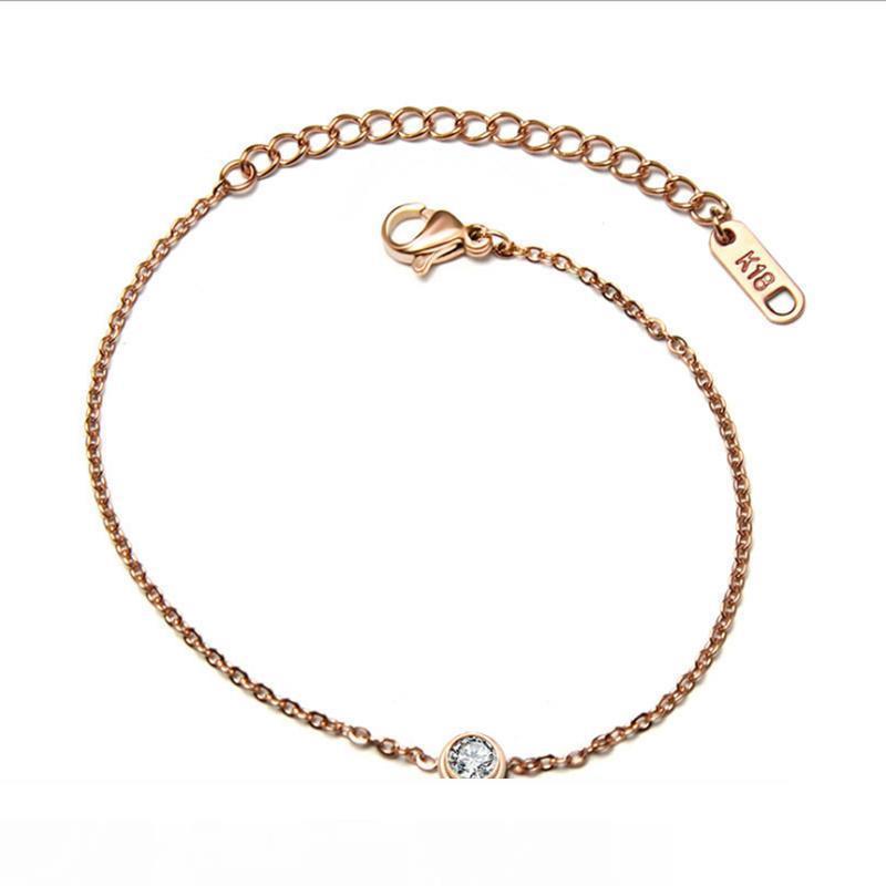 The new rose gold single diamond hand chain han edition fashion bracelet titanium steel jewelry accessories wholesale.